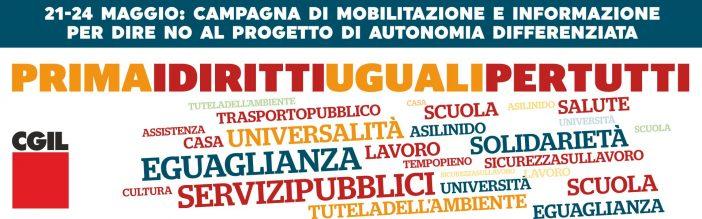 Autonomia: Cgil, dal 21 al 24 maggio campagna 'Prima i diritti uguali per tutti'
